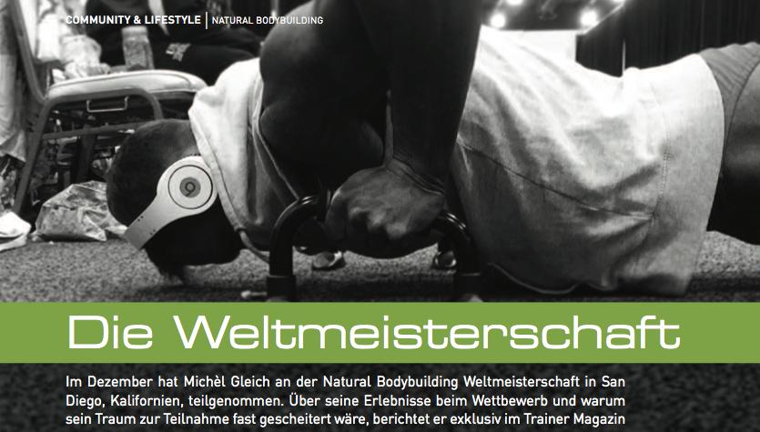 """Neuer Artikel von Michèl im """"Trainer Magazin"""" – Die Teilnahme an der Fitness-Weltmeisterschaft 2014"""